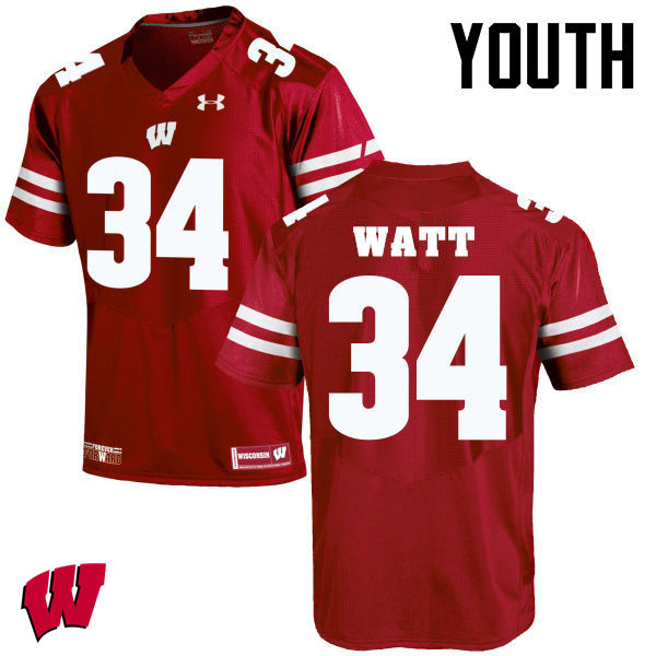 Youth Winsconsin Badgers #34 Derek Watt College Football Jerseys-Red